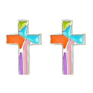 Multicolored Cross Stud Earrings